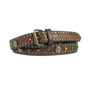 ANSALDO IMPORTS Italian Leather Brass Stud Belt